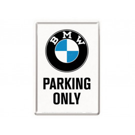 Nostalgic Arts BMW Parking Only White Metal Postcard (10x14cm)