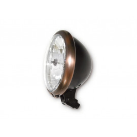 P&W Headlight Bates-Style 5 3/4 Inch (clear Glass) Metal H4 with Parking Light (black)