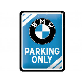 Nostalgic Arts BMW Parking Only Blue Metal Sign (15x20cm)