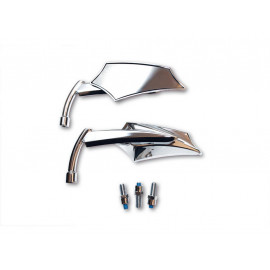 Shin Yo Custom Shield Motorcycle Mirror Set (chrome)