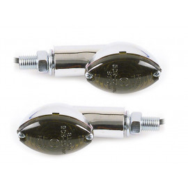 Shin Yo Cateye Short Motorcycle Turn Signal Set (chrome) tinted Glass